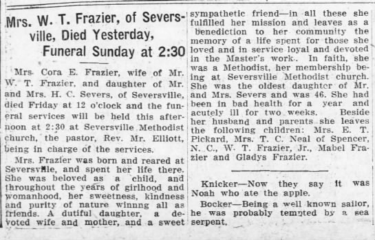 Cora E. Frazier, Oldest Daughter of Mr. and Mrs. H. C. Severs -