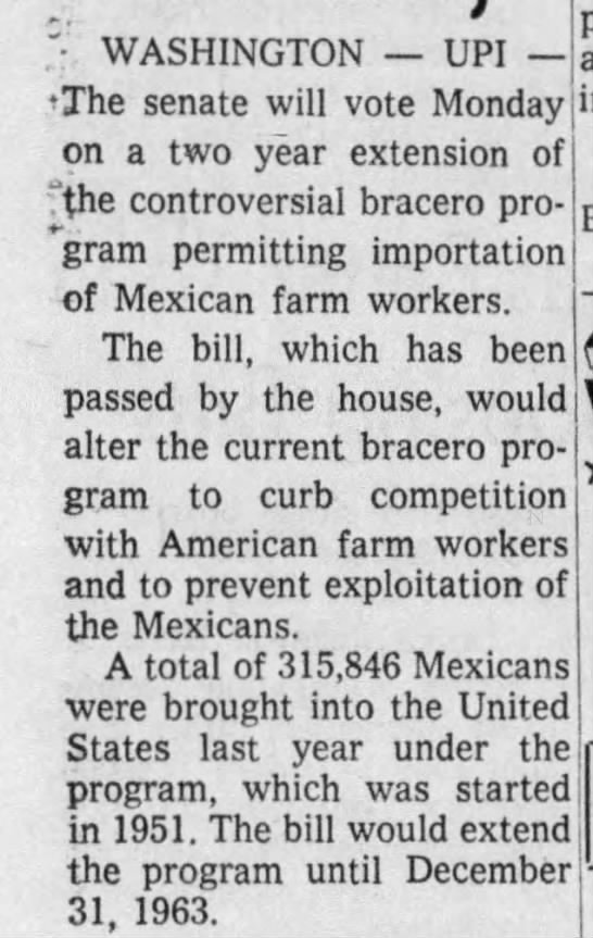 Bill allows Mexican farmworkers to come to the US - 1961 -