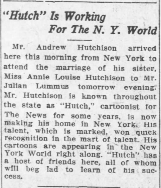 "- 'Hutch"" Is Working For The N. Y. World Mr...."