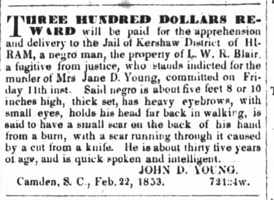 LWR Blair9 April 1853Greensboro Patriot -