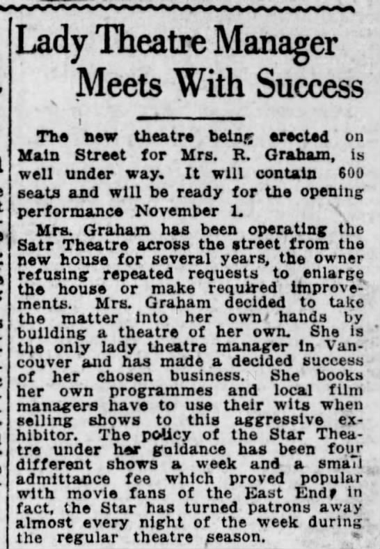 Lady theatre manager meets with success 27Aug1921 -