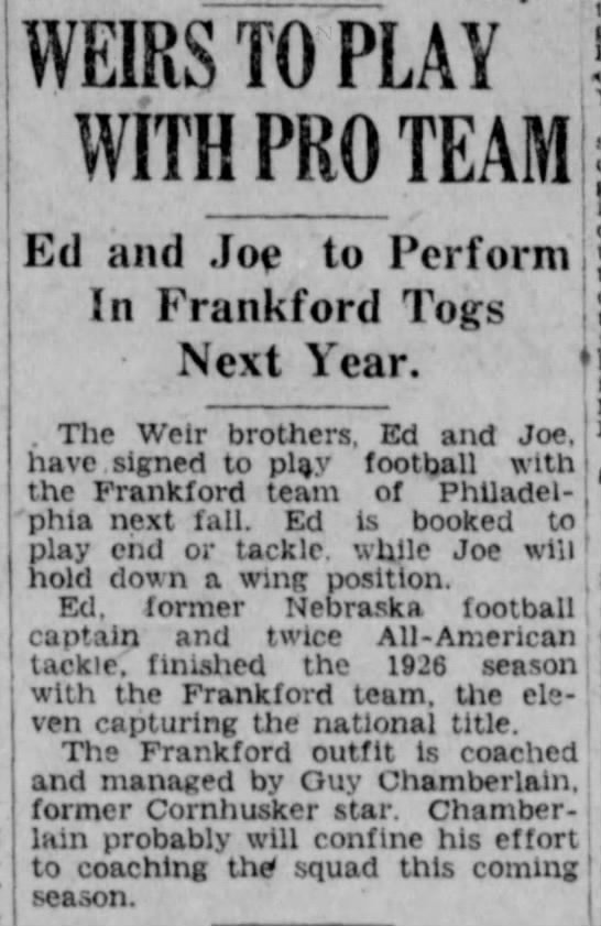 1927 Ed and Joe Wier sign with Frankford -