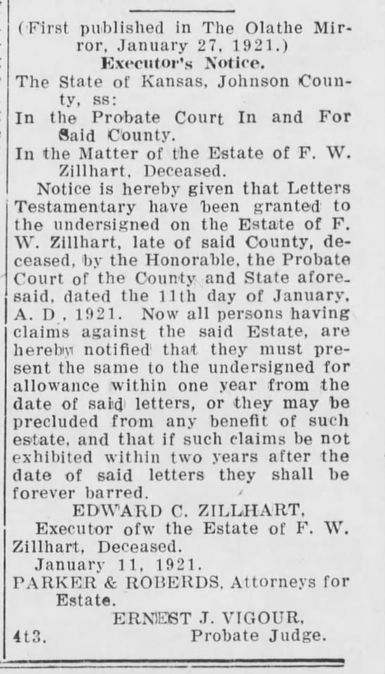 Fred W. Zillhart deceased, probate notice by Executor... - (First published in The Olathe Mirror, January...