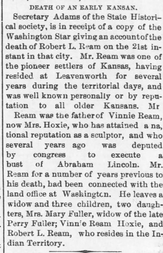 Robert Lee Ream - Obit - The Daily Commonwealth (Topeka, Kansas) p 4, Nov 28, 1885 -