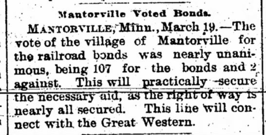 Mantorville votes for railroad bonds
