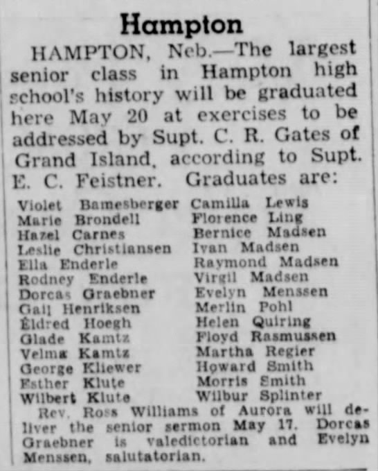 Graduating Class of Hampton High School ~ 1936 -