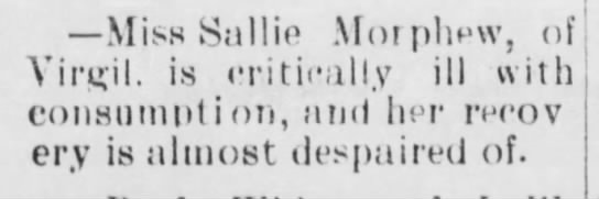 Sallie Morphew illness in newspaper -