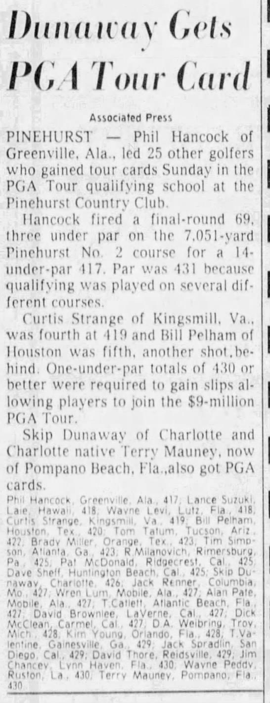Dunaway Gets PGA Tour Card -
