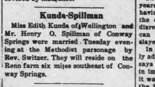 Kunda-Spillman Wedding Sep 1912 -
