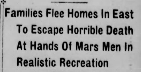 War of the Worlds headline -
