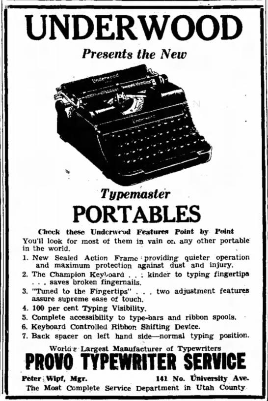 The Underwood Portable Typemaster, Dec. 12, 1937 -