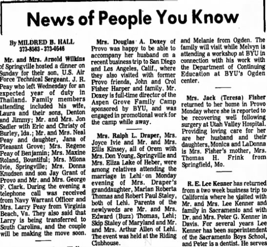 The Daily Herald (Provo, Utah) February 17 1972 page 5 (Military phone call from JR Peay) -