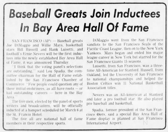 Baseball Greats Join Inductees In Bay Area Hall Of Fame -