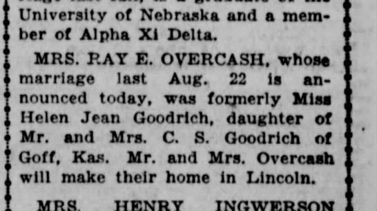 Ray E Overcash and Heln Goodrich marriage announcement 1931 -