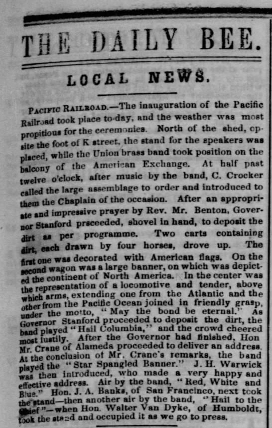 Inauguration of Central Pacific Transatlantic Railroad -