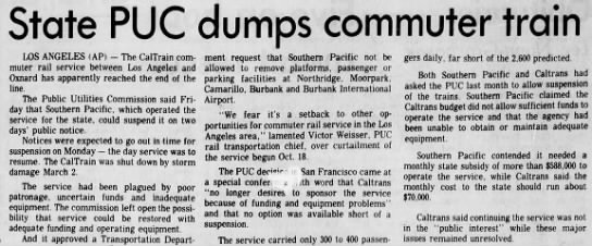 State PUC dumps commuter train -