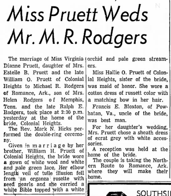 - Miss Pruett Weds Mr.M.R. Rodger s The marriage...