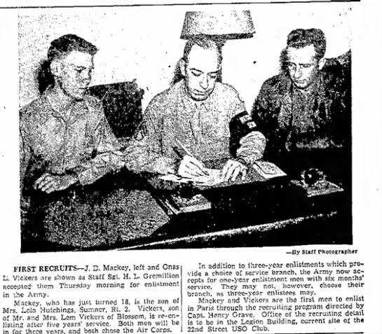 - FIRST RECRUITS—J. D. Mackey, left and Onas L,...