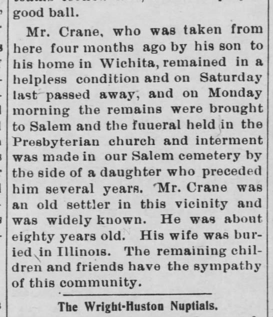 Death of Isaac S Crane -