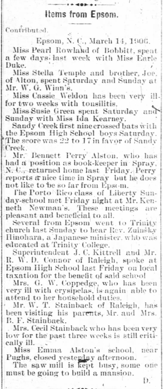 Items From Epsom (15 Mar 1906, Henderson Gold Leaf, Henderson, NC) -
