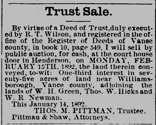 - Trust Sale. By virtae of a Deed of Trust.duly...