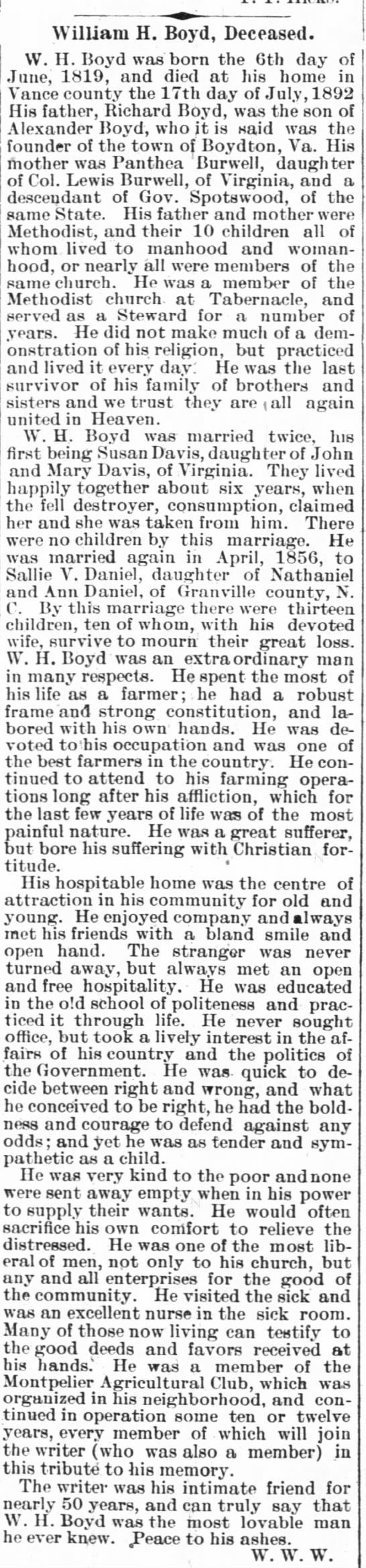 William H. Boyd Obit (15 Sep 1892 Henderson Gold Leaf) -