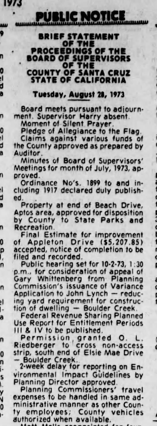 Santa Cruz Sentinel (Santa Cruz, CA, Sept 5, 1973 - 1, 11- PUILIC NOTICE BRIEF STATEMENT OF THE...