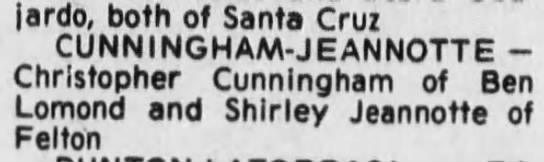 Shirley Jeannotte Chris Cunningham 22 May 1977 -