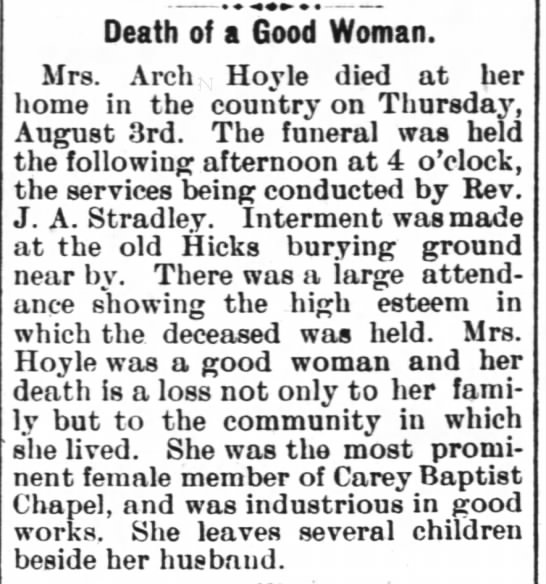 Lucy Lawrence Hicks Hoyle Obit (10 Aug 1905 Henderson Gold Leaf) - t Death of a Good Woman. Mrs. Arch Hoyle died...