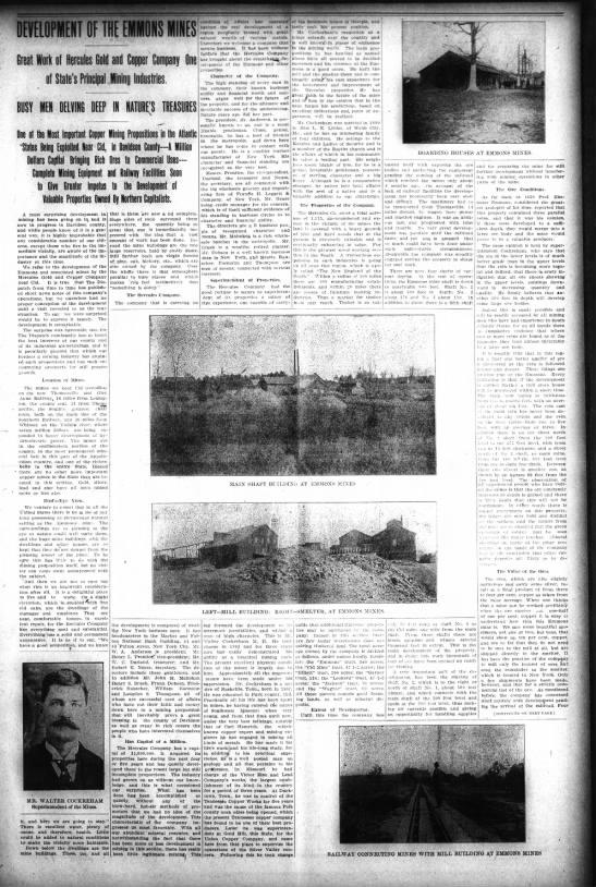 Emmons_Mine 24 October 1906 The Dispatch (Lexington, NC) p.3. -