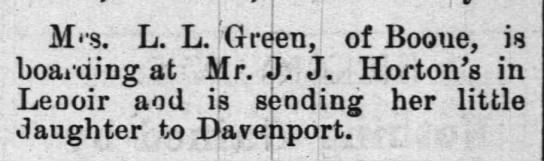 Mrs. LL Green; JJ Horton -
