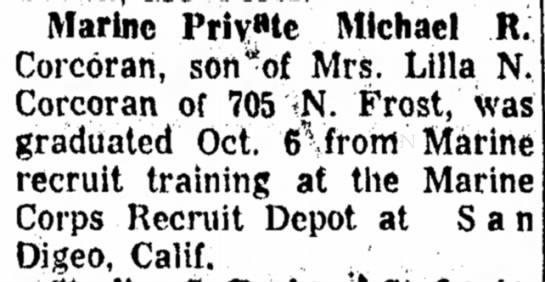 10-28-1965 - Marine Private Michael R. Corcoran, son^of Mrs....