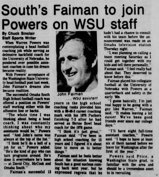 South's Faiman to join Powers on WSU staff -