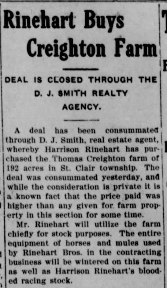 - Rinehart Buys Creighton Farm DEAL IS CLOSED...