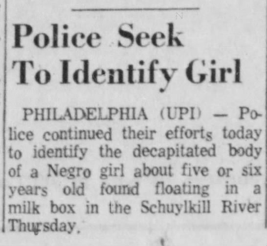May, 3 1962 Philadelphia Jane Doe -