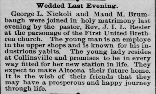Nickoli-Brumbaugh_Altoona Tribune_16 Dec 1892 -