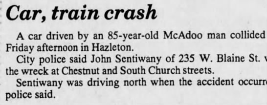 Uncle John collides with Train Standard Speaker Hazelton 10/20/1990 -