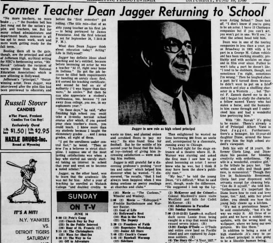 Dean Jagger's early years -