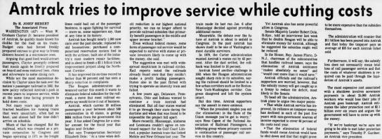 State of Amtrak 1985 -
