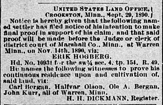 Carl Bergan. Warren Sheaf Newspaper Oct. 2, 1890 -