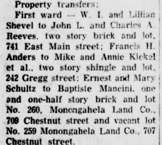 Baptiste Mancini real estate - 3 July 1948, Daily Republican, Monongahela, PA - Property transfers: First ward W. I. and...