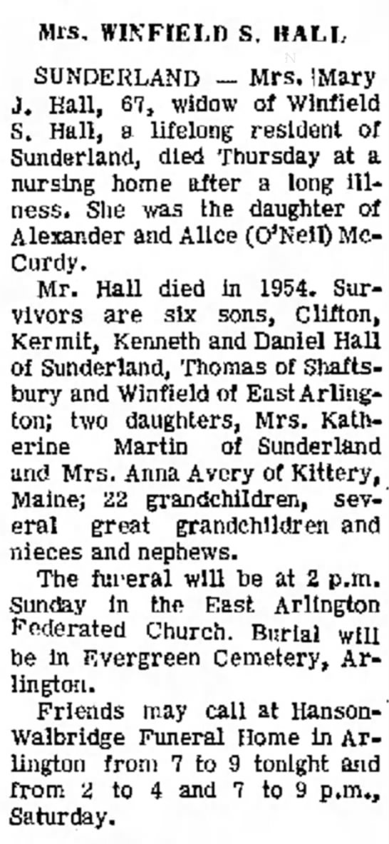 Obit: Mary J McCurdy Hall. 29 Nov 1963 -