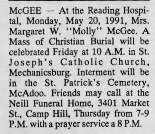 """Margaret W """"Molly"""" McGee obit 23 May 1991 Standard Speaker -"""