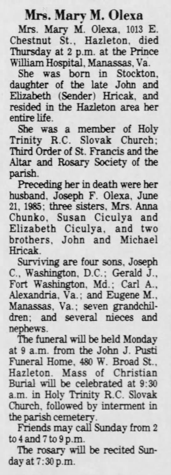 Mary Hricak (Sister of Grandfather) -