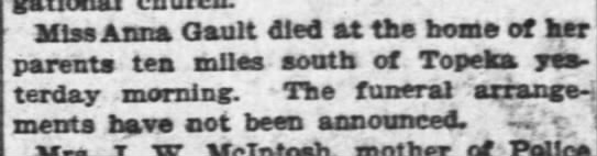 Anna Gault death notice The Topeka Daily Capital 11-9-1902 -