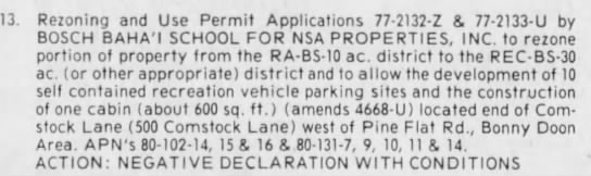 rejection of rezoning permit for Baha'i property for parking and a cabin - 13. Rezoning and Use Permit Applications...