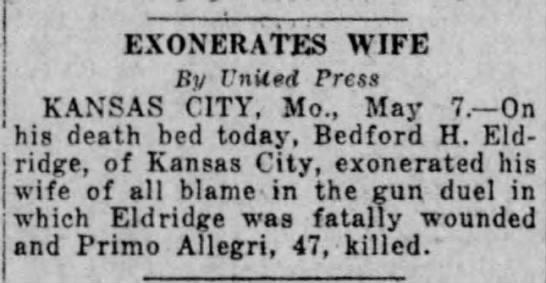 Bedord H. Eldridge/Primo Allegri, Evening News Harrisburg Pennsylvania  7 May 1928 -