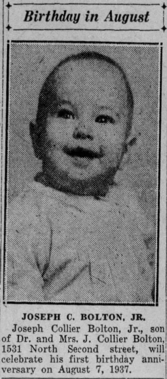 Joseph C. Bolton, Jr. is one year old. -