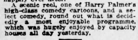 Harry Palmer comedy cartoon mentioned in the Vancouver Daily World, 1916 -