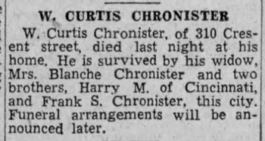 W Curtis Chronister _Evening News_16 Jul 1935 -
